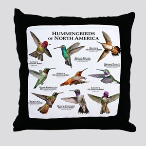 Hummingbirds of North America Throw Pillow